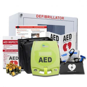 ZOLL AED Plus package with cabinet, carry case, pads, battery, and more