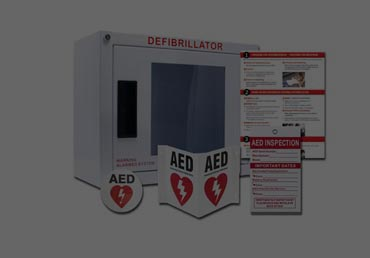 AED cabinets and signage